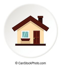 One storey house with chimney icon, flat style