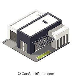 One-storey house with flat roof isometric icon set