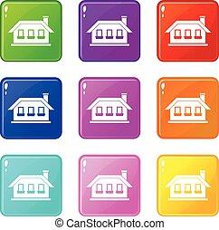 One-storey house with three windows icons 9 set