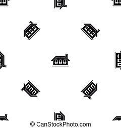 One-storey house with three windows pattern seamless black