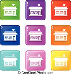 One storey house with two windows icons 9 set