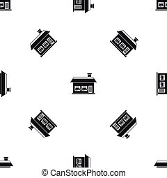 One storey house with two windows pattern seamless black