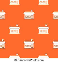 One storey house with two windows pattern seamless
