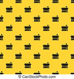 One storey house with two windows pattern vector