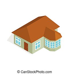 One storey house with veranda icon in isometric 3d style...