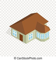 One storey house with veranda isometric icon 3d on a...