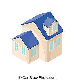 one-story, 现代, house., 描述, 背景。, 矢量, 原色哔叽, 模型, 白色