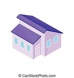 one-story, 现代, house., 描述, 背景。, 矢量, 紫罗兰, 模型, 白色