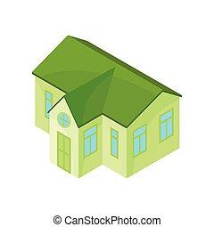 one-story, 现代, house., 描述, 背景。, 矢量, 绿色, 模型, 白色