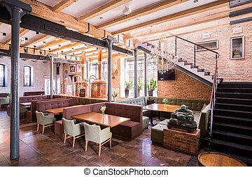One-story modern designed restaurant with buddha figure