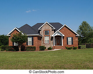 One Story Stone and Brick Home