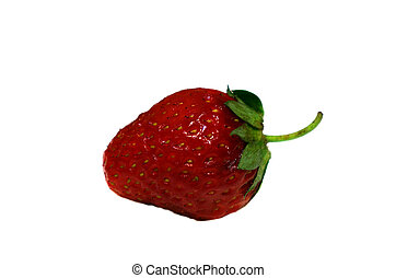 One strawberry isolated on white background