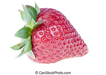 One strawberry, isolated on white