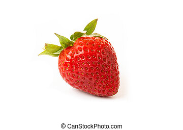 One strawberry with strawberry leaf on white background.