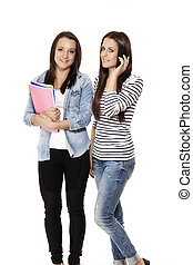 one student calling by phone near her friend with notepads on white background
