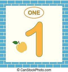 (one)., számok, szám 1, játék, mathematics., tanulás, children., kártya