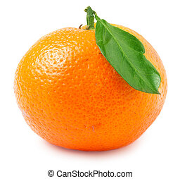 one tangerine with leaf on a white background