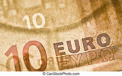 ten euro bill - one ten euro bill marcro shot, European ...