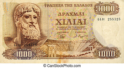 An old 1,000 Greek drachma note from just prior to the switch to the single european currency. Greece's weak economy is now causing problems for the euro zone.