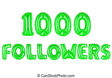 one thousand followers, green color