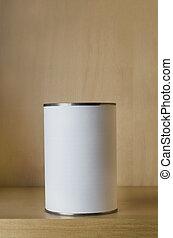 One Tin with Blank Label on Shelf