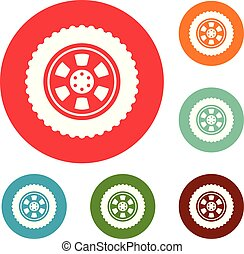One tire icons circle set vector