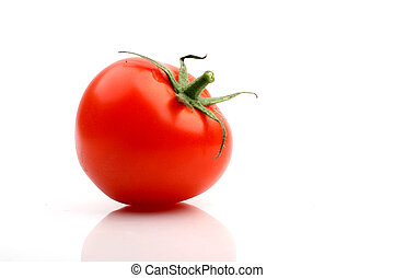 one tomato isolated on white background