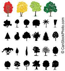 one-ton, árboles, de, diferente, colour., un, vector, ilustración