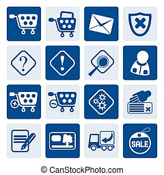 Online Shop Icons - One tone Online Shop Icons - Vector Icon...