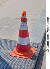 Traffic Cone - One Traffic Cone Sign at Street