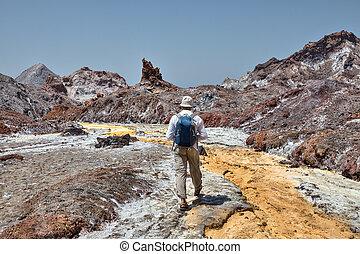One traveler follows the path of a salt stream, Iran.