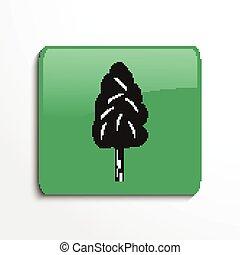 One tree. Symbol. Vector icon.