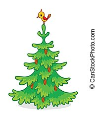 One tree with pine cones and a bird standing on a white background.