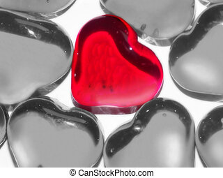 one true love - macro of glass hearts
