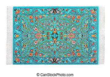 One turquoise carpet horizontally lies on white background