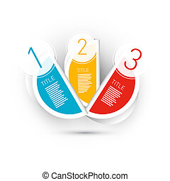 One, Two, three, Colorful Vector Stickers, Tags - infographics