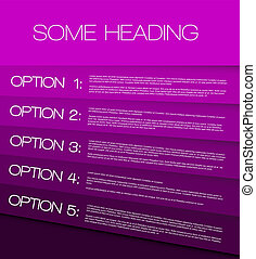 One two three four five - vector purple options background