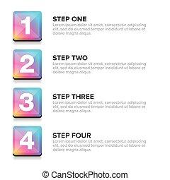 One Two Three Four steps progress bar