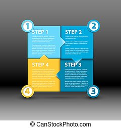 One two three four - vector paper progress steps