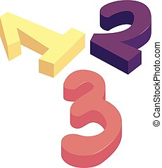 One two three numbers icon, cartoon style - One two three ...
