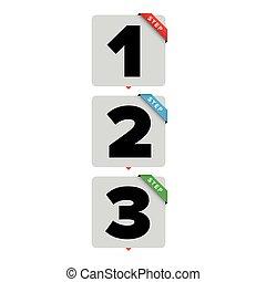 One two three steps progress bar