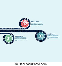 One Two Three - Vector options progress infographic template