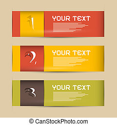 One, Two, Three Vector Paper Progress Steps for Tutorial, Infographics