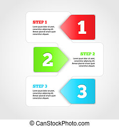One two three - vector progress steps.