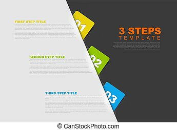 One two three - vector progress template for three steps