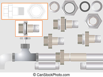 One type of pipe joints. - Device for joining metal pipes...