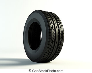 one tyre - Brand new tyre, 3d rendering of car wheel
