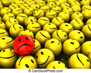 one unhappy - abstract 3d illustration of one sad face and ...