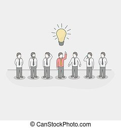 One unique businessman with light bulb of idea in a crowd.