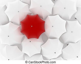 One unique red umbrella, among other white - Many white...